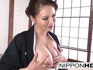 Piping hot Japanese cutie plays with herself
