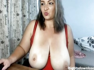 Ugly brunette approximately giant tits