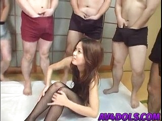 Kaoru has pussy teased at hand vibrators in hot group session