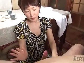 Japanese slim woman handjob