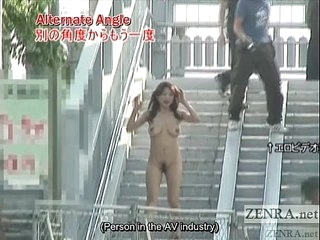 Subtitled busty Japanese focus on nudist goes for a walk