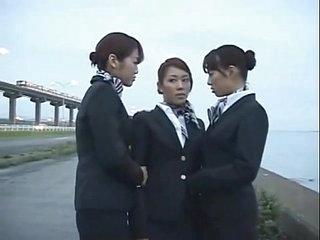 3 Japanese Nance Airline Stewardess Girls Kissing!