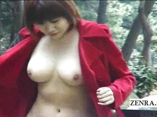 Subtitled Japanese public nudity and brim-full blowjob