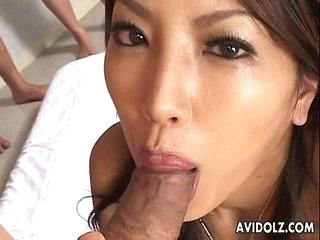 Gorgeous Japanese beauty Saya sucking curvaceous