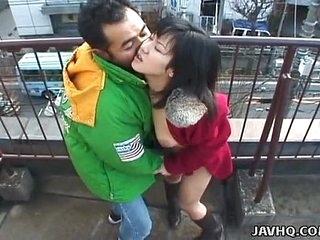 Lovely Japanese babe sucks a hard dick outdoors