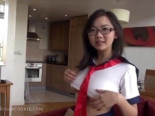 18 yo Japanese schoolgirl touching yourselves