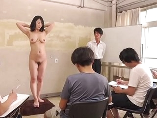 Subtitled CMNF ENF retrogressive Japanese milf nude art class everywhere HD