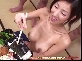 Cum Added to Sushi for 18 year elderly Japanese Teen - Japanese Bukkake Orgy