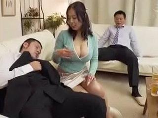 Japanese Bigboobs wife cheating encircling husband visitors behind husband