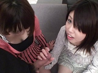Subtitled Full-bodied POV Japanese CFNM threesome blowjob in Full HD