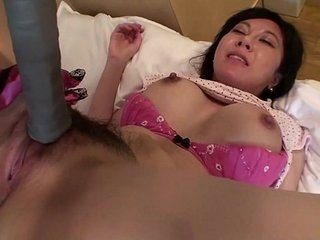 Rounded out Japanese milf affair with tennis racket Subtitled