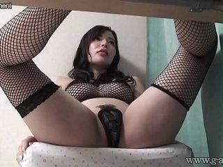 Hiddencam Busty Japanese Girl in fishnet Lingerie