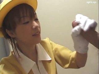 Japanese handjob close to white gloves uncensored