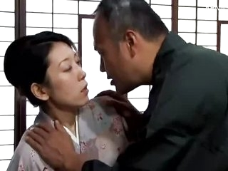 Asian Japanese half naked kimono MILF's sex life