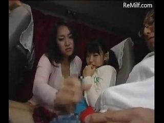 Japanese mom plus her daughter blowjob for strangers on tutor
