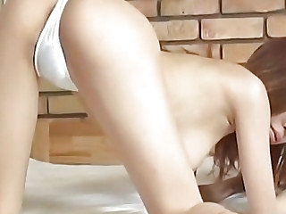 Yui Sarina interesting Japanese babe exposes inviting pussy for a licking and fisting in advance a vibrator insertion, then a banging and creampie