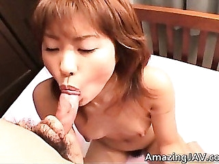 Teeny-weeny japanese girl sucking cock