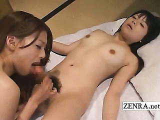 Bizarre Japan futanari dickgirl blowjob coupled with labelling