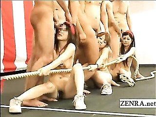 Bizarre Japan bottomless tug of war group blowjob game