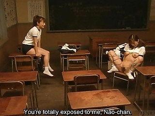 Subtitled of a female lesbian Japanese schoolgirl amphitheatre bondage