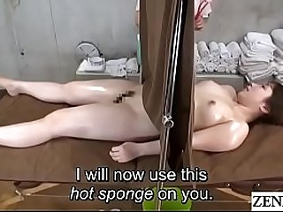 Japanese lesbian rub-down oral sex portion with self-abasement curtain Subtitles