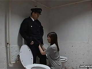 Asian prisoner sucking off put emphasize guard's penis