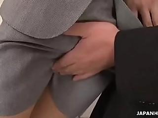 Down in the mouth Asian secretary sucks president's cock connected with a yummy nip