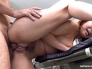 Brainwashed Japanese redhead used as a lady-love toy and facialized
