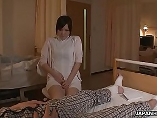 Randy Japanese nurse is toyed up also fuze orgasms by a patient