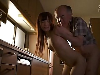 Japanese venerable father in law with petite and go out of business laddie played by JAV personage Noa Eikawa brutal kitchen messy blowjob and standing doggystyle coition while wife is away in HD with subtitles