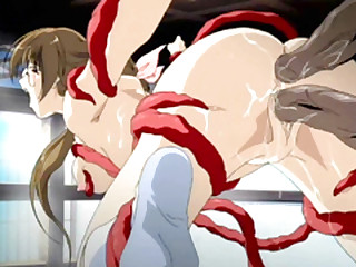 Japanese hentai brutally irritant and pussy drilled by tentacles