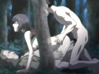 Japanese hentai cutie threesome fucked in the forest