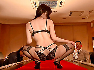 Busty Japanese lingerie model Aika gets fucked by her brass hats