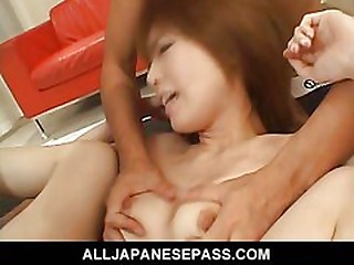 Cute with an increment of sassy Rika Sakurai gives a dobule blowjob