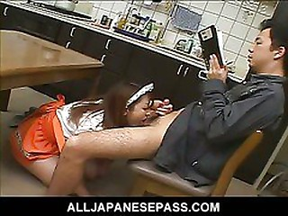 Titillating Japanese maid be worthwhile for make an issue of day gobbles down her bosses cock