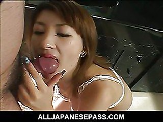 Horny Japanese babe beside cum on the brush obese tits