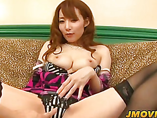 Kou gets Bristols fondled and pussy poked onwards outstanding amazing blowjob
