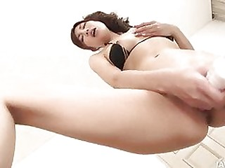Japanese cutie Kana Miura labelling her tight pink pussy