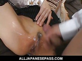 Jun Kusanagi Lovely Asian model plays in her pussy connected with huge dildo