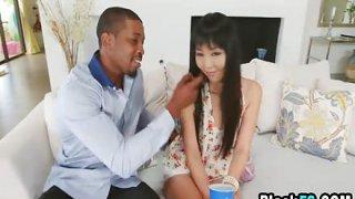 Interracial bang with cute Japanese newborn