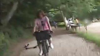 porn Japanese Schoolgirl Masturbates on a Modified Bicycle