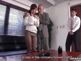 Japanese office lady, Aihara Miho got blackmailed with the addition of fucked, uncensored